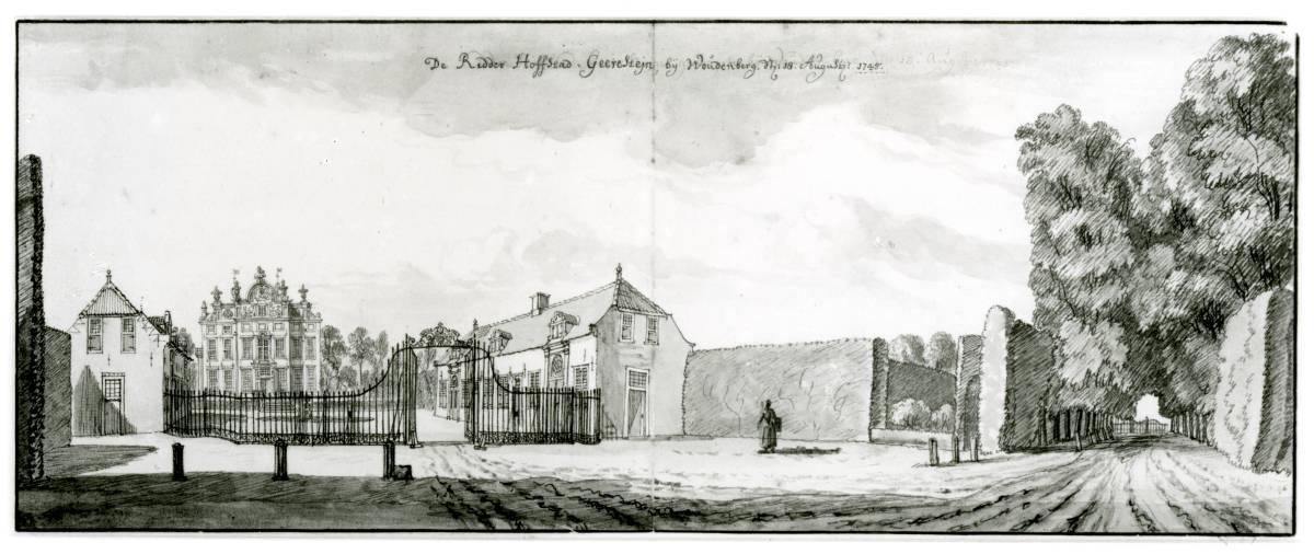 Geerestein in Woudenberg. Tekening Jan de Beijer, 1745